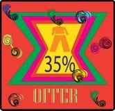 IMAGE D'ÉTIQUETTE DE L'OFFRE COLORFULL DE CLOCTING 35% illustration stock