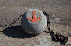 Image d'ancre sur une boule concrète avec des chaînes Photographie stock libre de droits