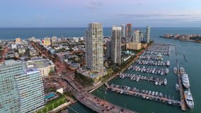 Image d'antenne de marina de Miami Beach Image libre de droits