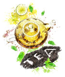 Image d'aquarelle de pot de thé Image stock