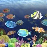 Image d'aquarelle du fond marin Photo libre de droits
