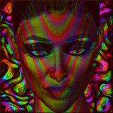 Image d'art de Digital du visage de la femme avec des effets abstraits de couleur Images libres de droits