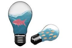 image 3D composée d'ampoule avec le poisson rouge à l'intérieur Images libres de droits