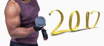 image 3D composée d'homme d'ajustement s'exerçant avec l'haltère Photographie stock