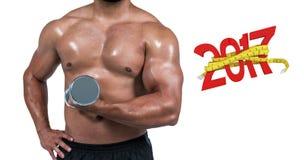 image 3D composée d'homme musculaire soulevant l'haltère lourde Images stock