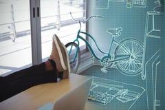 Image 3d composée d'illustration de bureau au bureau créatif Photographie stock libre de droits