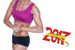 image 3D composée de bodybuilder féminin posant avec des mains ensemble Photos libres de droits