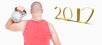 image 3D composée de bodybuilder soulevant le kettlebell lourd Image libre de droits