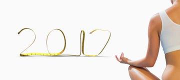 image 3D composée de femme d'ajustement se reposant dans la pose de lotus Images stock