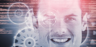 Image 3d composée de fin vers le haut de portrait d'homme bel de sourire Image libre de droits