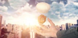 Image 3d composée de main de femme d'affaires faisant des gestes sur le fond blanc Image stock