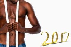 image 3D composée de mi section d'homme musculaire sans chemise Photographie stock