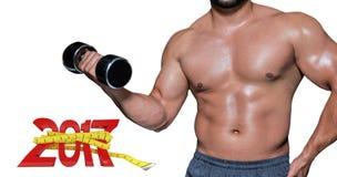 image 3D composée de mi section d'un bodybuilder avec l'haltère Images stock