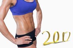 image 3D composée de section médiane de femme d'ajustement avec la main sur la hanche Image libre de droits