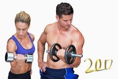 image 3D composée des couples de bodybuilding Images libres de droits