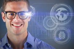 Image 3d composée du portrait des lunettes de port de sourire d'homme bel Photo libre de droits