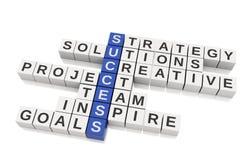 image 3d conceptuelle de succès Mots croisé avec des lettres Images stock