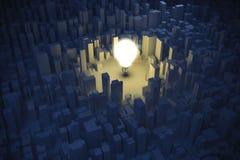 image 3d d'ampoule et de ville, concept vert d'économie Images stock