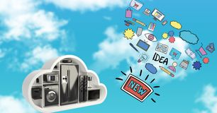 image 3d de divers appareils et icônes en ciel Image stock