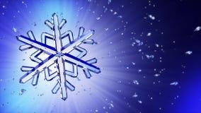 image 3d du flocon de neige en cristal sur le fond bleu Image libre de droits