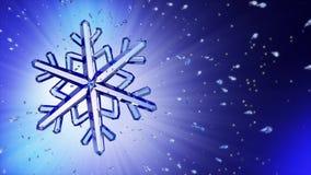 image 3d du flocon de neige en cristal sur le fond bleu Photos libres de droits