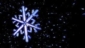 image 3d du flocon de neige en cristal sur le fond noir Image stock