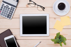 Image d'en-tête de Tablette Substance de bureau, lieu de travail, vue supérieure Photo stock