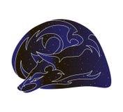 Image d'ensemble de sommeil de Fox ou de coyote Ligne stylisée illustration animale, silhouette de vecteur de couleur de ciel noc illustration stock