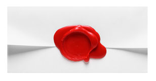 Image d'enveloppe avec l'estampille rouge de cire Images libres de droits