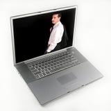 Image d'homme d'affaires sur l'ordinateur portable Images libres de droits