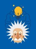 image d'icône d'Albert Einstein et de cerveau Image libre de droits