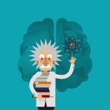 image d'icône d'Albert Einstein et de cerveau Images libres de droits