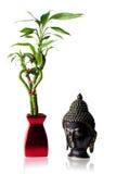 Image d'isolement de Bouddha et de bambou Photographie stock