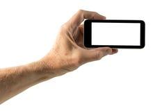 Image d'isolement de main avec l'écran de smartphone Photos libres de droits