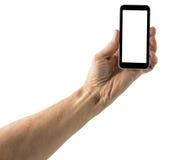 Image d'isolement de main avec l'écran de smartphone Image stock
