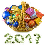 Image d'isolement des décorations et des boîte-cadeau de Noël Photo libre de droits