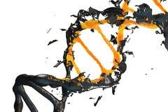 image 3d : La molécule d'ADN comprend s'effondrer Mutation génétique et virus de combat La Science et concept de médecin S détrui Image libre de droits