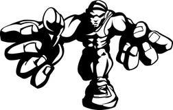 Image d'ombre de dessin animé de lutteur Images libres de droits