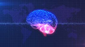 Image d'ordinateur de cerveau - cerveau rose, pourpre et bleu numérique avec l'animation d'onde cérébrale Photo stock