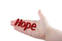 Image d'une main avec l'espoir d'inscription Photographie stock