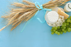 Image of dairy products and fruits. Symbols of jewish holiday - Shavuot Stock Images