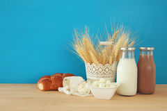 Image of dairy products. Symbols of jewish holiday - Shavuot Royalty Free Stock Photo