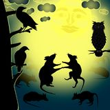 Vector illustration of the scene of the night in the feast of Halloween. The image of the dance of rats in the moonlight. The scene is observed owl, crows and vector illustration
