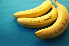 Image de banane avec des bananes d'amour de la calligraphie I Photographie stock libre de droits