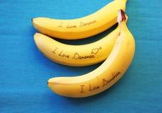 Image de banane avec des bananes d'amour de la calligraphie I Photo libre de droits