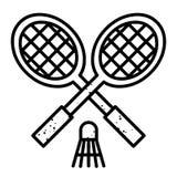 Image de bande dessinée d'icône de badminton Symbole de sport illustration stock