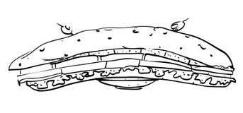 Image de bande dessinée de sandwich énorme illustration libre de droits