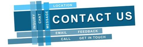 Contactez-nous les bandes bleues Images libres de droits