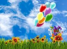 Image de belles fleurs et de ballons colorés sur le fond de ciel Photographie stock