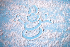 Image de bonhomme de neige sur la table Photographie stock
